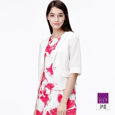 ILEY伊蕾 菱紋縷空蕾絲西裝外套(白)(黃)