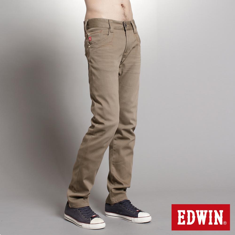 【EDWIN】大尺碼 B.T W.F中直筒保溫褲-男款(褐色)