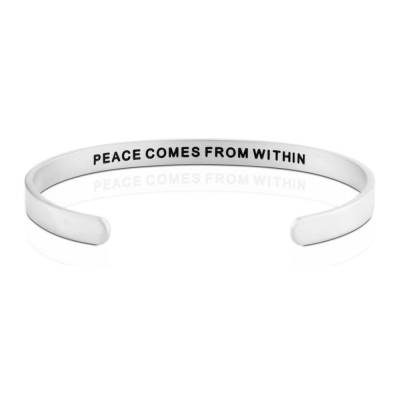 MANTRABAND Peace Comes From Within寧靜來自內心銀寬版男款
