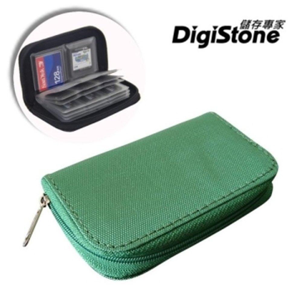 DigiStone 22片裝多功能記憶卡收納包(18SD+4CF)-綠X1P