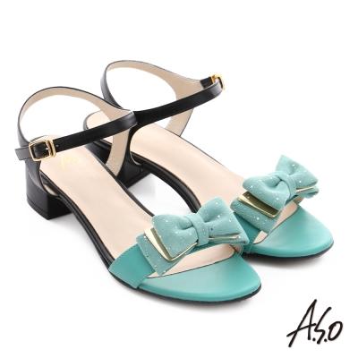 A.S.O 南法香頌 金屬異材質混搭蝴蝶結粗低跟涼鞋 淺綠色
