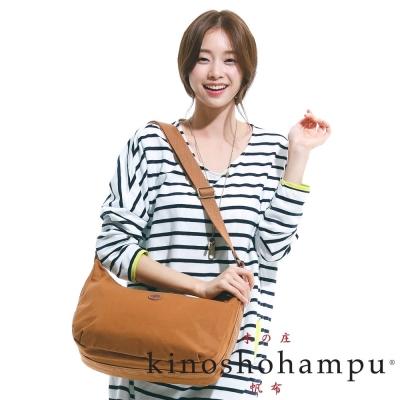kinoshohampu-雙拉鍊休閒彎月包-駝色