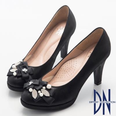 DN 晚宴婚嫁款 全真皮緞帶珍珠水鑽飾跟鞋-黑