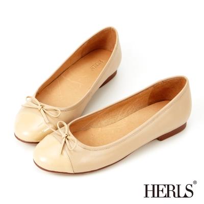 HERLS-真皮圓頭蝴蝶結娃娃鞋-杏色