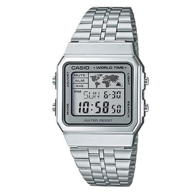 CASIO 復古風數字復刻地圖液晶顯示腕錶(A-500WA-7A)-銀X銀框/34mm