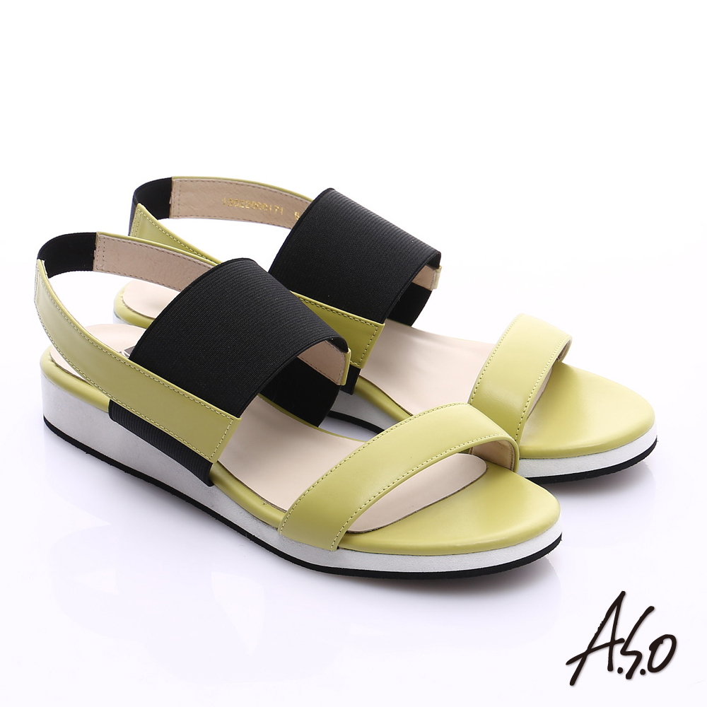 A.S.O 玩美涼夏 真皮鬆緊帶楔型涼鞋 黃綠