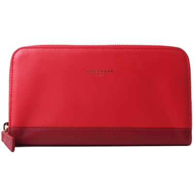 Longchamp 2.0 系列雙層撞色拉鍊長夾(紅色)