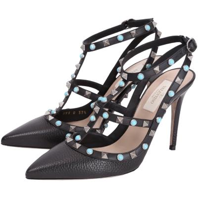 VALENTINO Rockstud Rolling 鉚釘繫帶尖頭高跟鞋(黑色)
