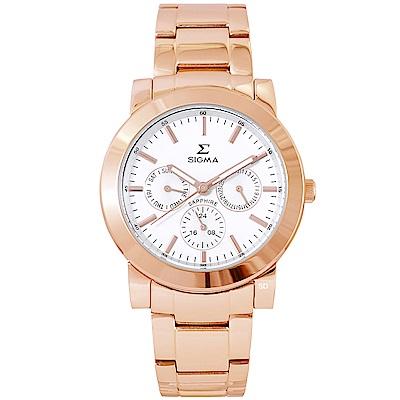 SIGMA 都會簡約三眼時尚手錶-白X玫瑰金/37mm