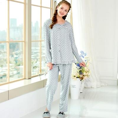 睡衣 精梳棉柔針織 長袖兩件式睡衣(67208)麻灰色 蕾妮塔塔