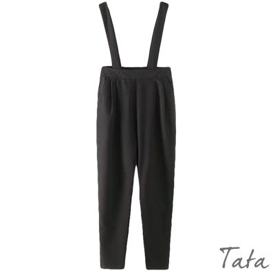 純色可拆卸背帶高腰褲-TATA