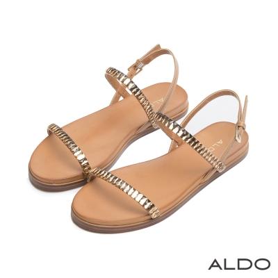 ALDO-原色鏤空一字切面方鑽金屬釦帶涼鞋-個性焦糖