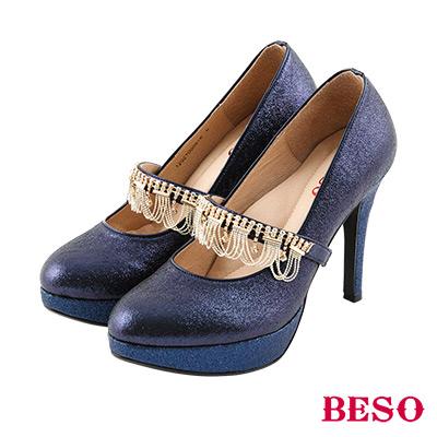BESO 華麗璀璨 3way可拆式水滴鑽踝戴婚鞋~藍