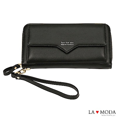 La Moda 完美設計大容量多卡位拉鍊手挽長夾手機包(黑)