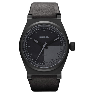 DIESEL 探索雷達個性腕錶-全黑/皮帶/43mm