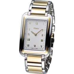 FENDI Classico 古典優雅時尚腕錶-銀x雙色/31x45mm