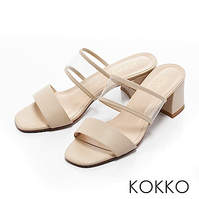 KOKKO-性感透膚環帶方頭粗跟涼拖鞋-簡約米
