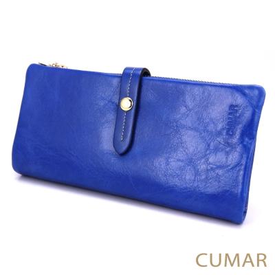 CUMAR-質感油蠟牛皮2way長夾-藍色