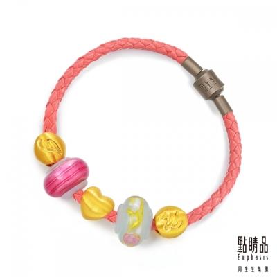 點睛品 Charme Murano Glass「我愛你」黃金彩色琉璃串珠手鍊