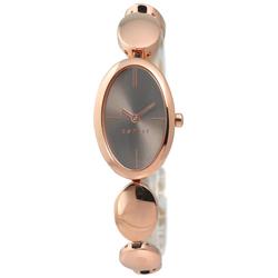 ESPRIT 高雅復古橢圓形不鏽鋼碗錶-深棕x鍍玫瑰金/22mm