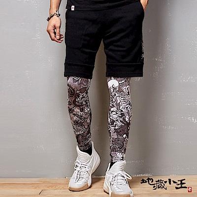地藏小王 BLUE WAY 妖國亂世系列-浮世繪熱昇華貼腿內搭褲-黑白