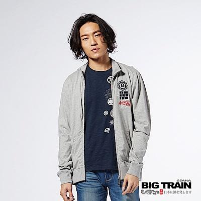 BIG TRAIN 水滸兄弟魂立領外套-男-麻灰