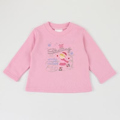 愛的世界-MYBEAR-純棉碎鑽溜冰女孩長袖上衣-粉-6-10歲