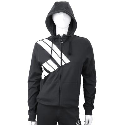EMPORIO ARMANI 數字7圖貼黑色拉鍊連帽運動衫