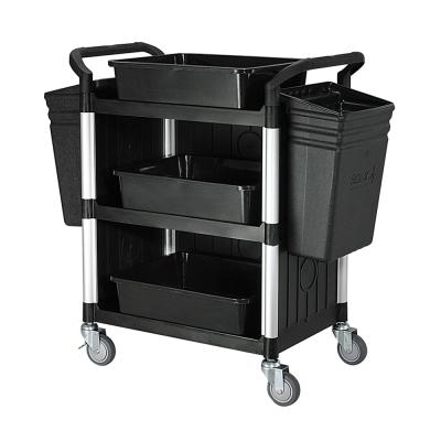 100%台灣製 標準型多功能三層三面圍邊工具餐車/置物架/手推車-全配經典黑