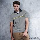 Nautica 率性型男細條紋短袖POLO衫 -深藍