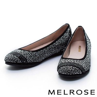 MELROSE-奢華燙鑽羊麂皮平底娃娃鞋-黑