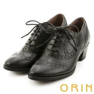 ORIN 復古牛津甜心 牛皮雕花綁帶粗跟牛津鞋-黑色