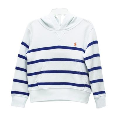 Ralph Lauren 男童小馬條紋連帽長袖上衣-藍/白(2/2T)