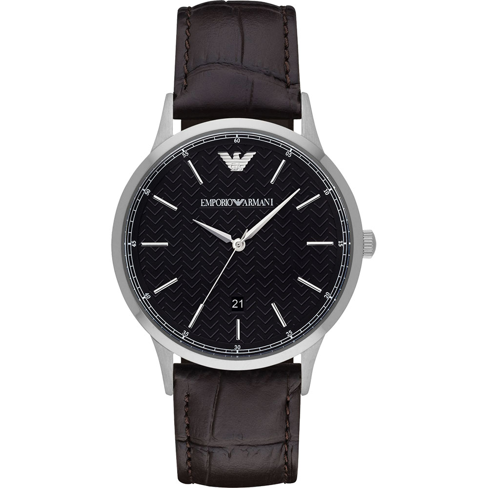 Emporio Armani Classic 都會新貴時尚腕錶-黑x咖啡/43mm