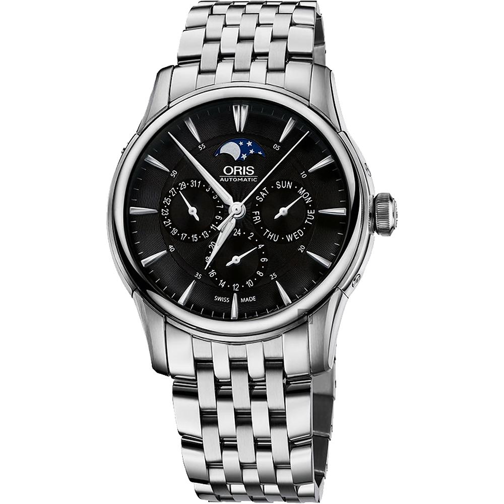 Oris豪利時 Artelier 藝術家月相盈虧機械錶-黑x銀/40.5mm