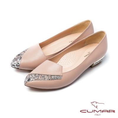CUMAR法式優雅金蔥拼接鞋樂福寶石鞋跟平底鞋粉膚