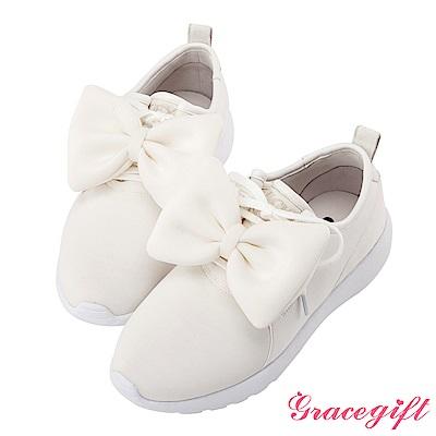 Disney collection by grace gift-2way蝴蝶結運動休閒鞋 白