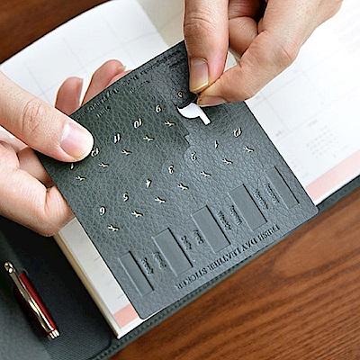 PLEPIC 鮮葉造型皮革標籤貼-酷冷灰