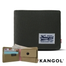KANGOL 韓式潮流 多夾層/零錢袋橫式短皮夾+鑰匙圈禮盒-帆布拼貼灰