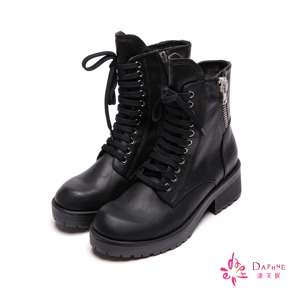 達芙妮DAPHNE 頹廢萬歲側拉鍊洗舊感綁帶短靴-個性黑8H