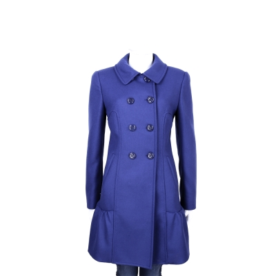 MOSCHINO 藍色雙排釦羊毛抓摺設計大衣