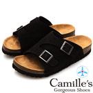 Camille's 韓國空運-正韓製-雙皮帶釦休閒拖鞋-黑色