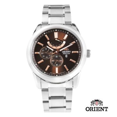 ORIENT 東方錶 POWER RESERVE系列 藍寶石機械錶-咖啡色/42mm