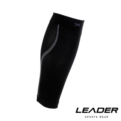 LEADER 進化版 運動專用V型壓縮小腿套 護腿套 一只入 黑底灰線