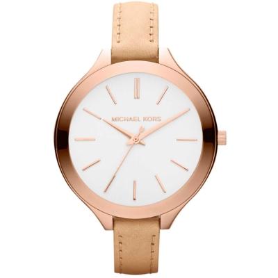 Michael Kors設計師時代玫瑰金采三眼真皮腕錶-白/42mm