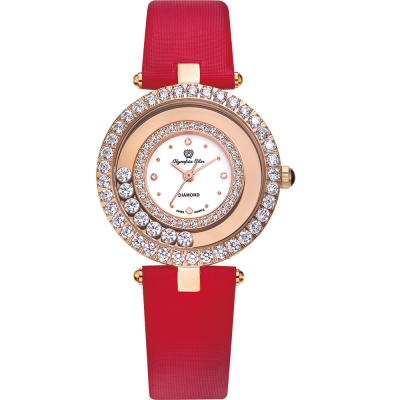 奧林比亞之星 Olympia Star 星空幻影真鑽時尚腕錶-女伶金 28019DLR