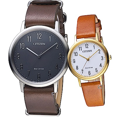 CITIZEN  經典品味時尚對錶(BJ6501-01E+EM0578-17A)
