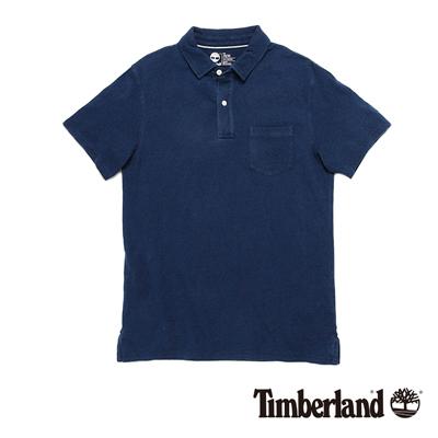 Timberland-男款靛藍色雙扣單口袋短袖PO