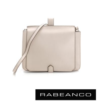 RABEANCO-迷時尚牛皮系列翻蓋方塊斜背包-杏