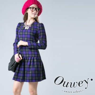 OUWEY歐薇圓領長袖格紋洋裝